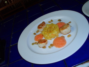 Scallops_pineapple_brulee_blue_backgroun